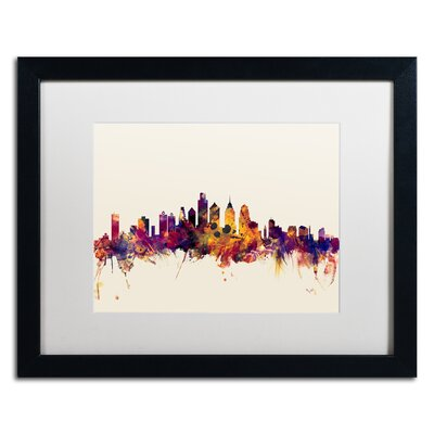 "picture of Philadelphia Skyline IV by Michael Tompsett Framed Graphic Art in White Size: 16"" H x 20"" W x 0.5"" D"