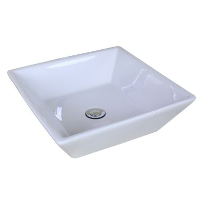 "picture of American Imaginations AI-11021 Above Counter Square Vessel for Deck Mount Faucet, 16.14"" x 16.14"", White"