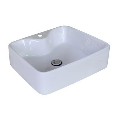 "picture of American Imaginations AI-11027 Above Counter Rectangle Vessel for Single Hole Faucet, 18.9"" x 14.96"", White"