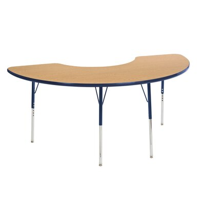 "picture of ECR4Kids 36"" x 72"" Half Moon Shape Activity Table, Toddler Legs w/ Ball Glides (Oak Top/Navy Edge)"