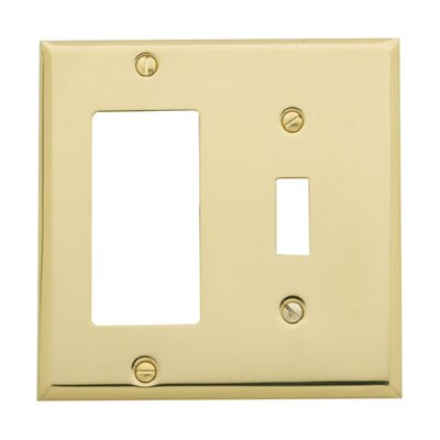 picture of Classic Square Bevel Design Combination of Single GFCI and Toggle Switch Plate Finish: Satin Nickel