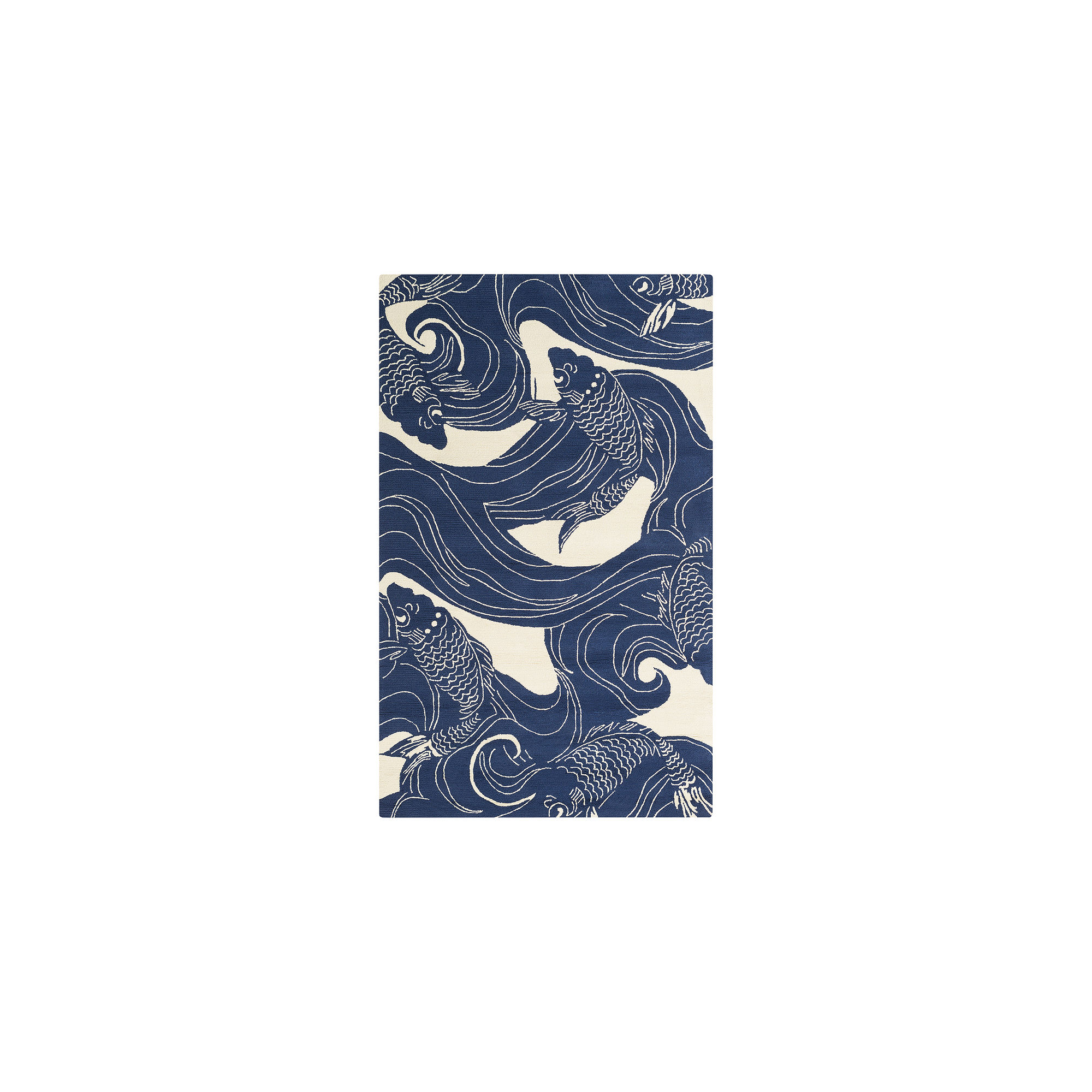 picture of Art of Knot Red Kaweah Area Rug, 8' x 10', Dark Blue/Beige