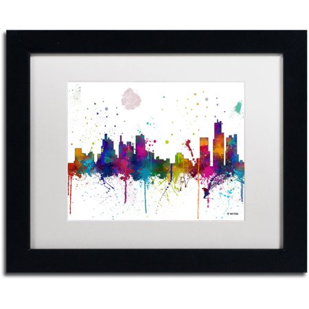 "picture of Trademark Fine Art ""Boston Mass Skyline Mclr-1"" Canvas Art by Marlene Watson, White Matte, Black Frame"