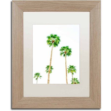 picture of Trademark Fine Art 'Palms 6' Canvas Art by Ariane Moshayedi, White Matte, Birch Frame