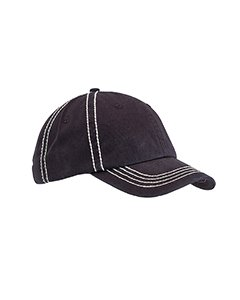 picture of Big Accessories Contrast Thick Stitch Unstructured Cap - BLACK/CRM - OS