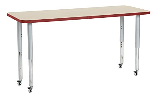 "picture of ECR4Kids Thermo-fused 24"" x 60"" Mobile Rectangular  School Activity Table, Super Legs w/ Glides and Casters, Adjustable Height 19-30 inch (Maple/Red/Silver)"