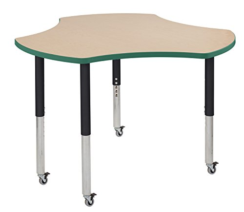 "picture of ECR4Kids Thermo-fused 48"" Mobile Cog School Activity Table, Super Legs w/ Glides and Casters, Adjustable Height 19-30 inch (Maple/Green/Black)"