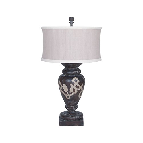 picture of GuildMaster Turned Urn Table Lamp In Heritage Grey Stain