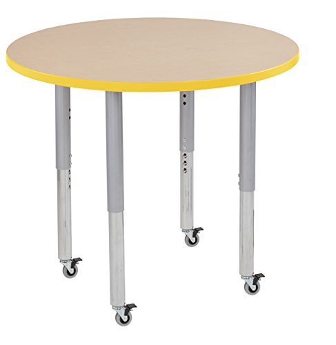 "picture of ECR4Kids Thermo-fused 36"" Mobile Round School Activity Table, Super Legs w/ Glides and Casters, Adjustable Height 19-30 inch (Maple/Yellow/ Silver)"