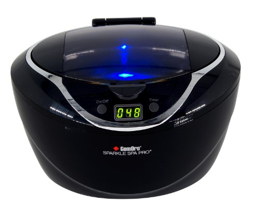 picture of GemOro 1790 Sparkle Spa Pro 750ml Professional Ultrasonic Machine with 5 Cleaning Cycles and Black Digital Timer