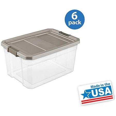 picture of Sterilite Stacker Box, 19 gal, Gray, Set of 6