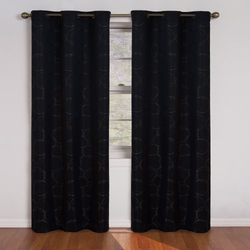 picture of Eclipse Meridian 95-Inch Blackout Window Curtain Panel, Black