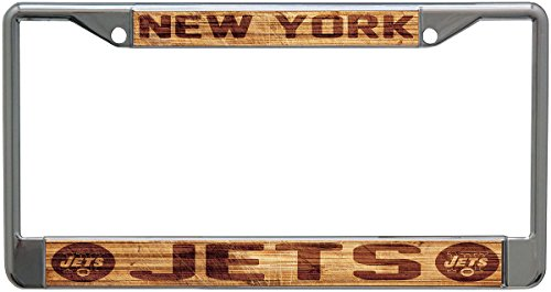 picture of York Jets Wood Design License Plate Frame