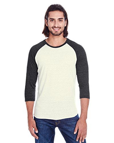 picture of Threadfast Apparel Men's Triblend 3/4-Sleeve Raglan, CREAM/ BLCK TRIB, XS