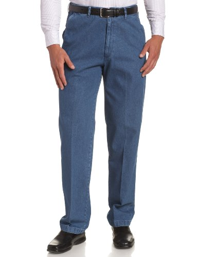 picture of Haggar Men's Work To Weekend No Iron Denim Plain Front Pant  ,Med Stonewash,40x29