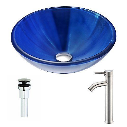picture of Meno Series Deco-Glass Vessel Sink in Lustrous Blue with Fann Faucet in Brushed Nickel