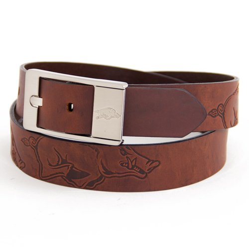 picture of Arkansas Brown Leather Brandished Belt - 42 Waist