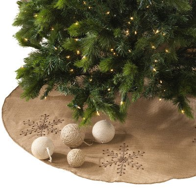 picture of SARO LIFESTYLE 1-Piece Beaded Snowflake Design Tree Skirt Set, 53-Inch, Natural, Round