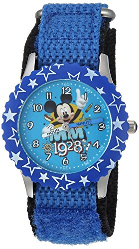 picture of Disney Boy's 'Mickey Mouse' Quartz Stainless Steel and Nylon Casual Watch, Color:Blue (Model: WDS000185)
