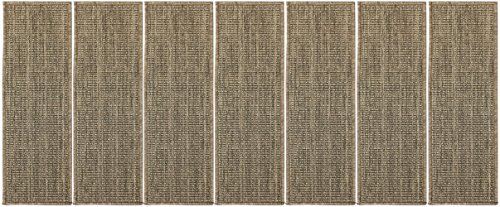 "picture of Berrnour Home Summer Collection 14 Piece Set of Dark Grey Solid Design Indoor / Outdoor Jute Backing Stair Treads (9""x26"")"