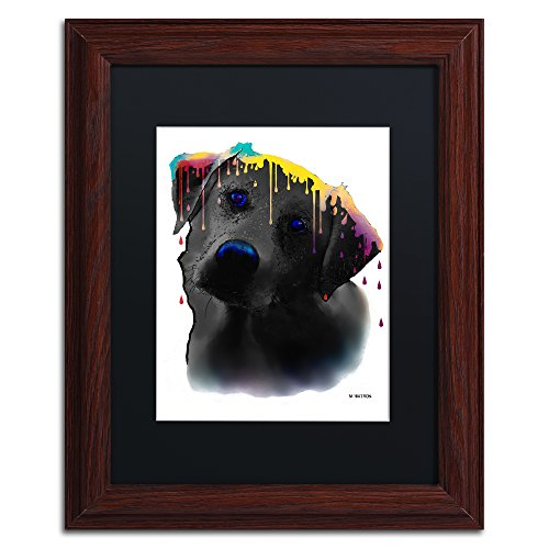 "picture of Trademark Fine Art Labrador Yellow Artwork with Wooden Frame by Marlene Watson, 11 by 14"", Black Matte"