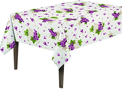 "picture of Ottomanson Vinyl Grape Vine Design 55"" X 102"" Indoor & Outdoor Tablecloth Non-Woven Backing"