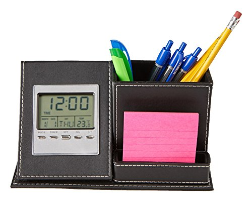 picture of Mind Reader Desk Organizer with Clock, Black