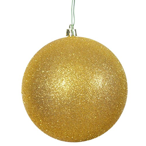 "picture of Vickerman N592508DG Glitter Ball Ornament with Shatterproof UV Resistant, Pre-drilled cap Secured & 6"" of Green Floral Wire, 10"", Gold"
