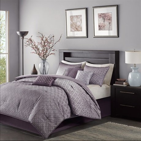 picture of Madison Park MP10-919 Biloxi 7 Piece Comforter Set, Queen, Purple