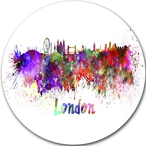 "picture of Designart ""London Skyline Cityscape"" Metal Wall Art, 11 x 11"", Purple/Yellow/Red/Pink"