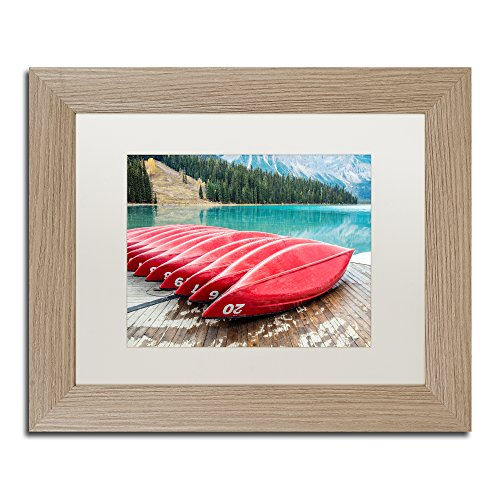 "picture of Trademark Fine Art PL0360-T1114MF ""Red Canoes of Emerald Lake by Pierre Leclerc"" Artwork, 11 x 14"", White Matte Birch Frame"