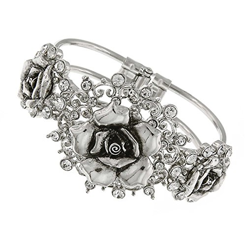 picture of Silver-Tone Crystal Flower Hinged Bracelet