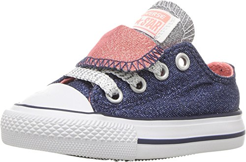 b4bcf2f3c14a picture of Converse Kids Chuck Taylor All Star Double Tongue Ox Infant  Toddler Midnighat Navy