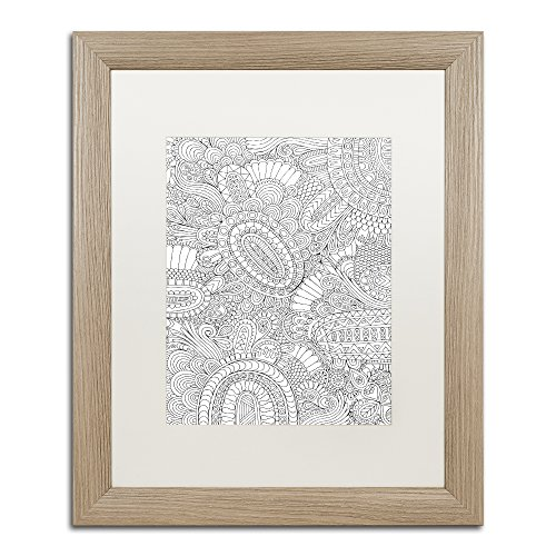 "picture of Trademark Fine Art ""Doodles All Over 2 by Hello Angel"" Artwork in White Matte with Birch Frame, 16 x 20"""