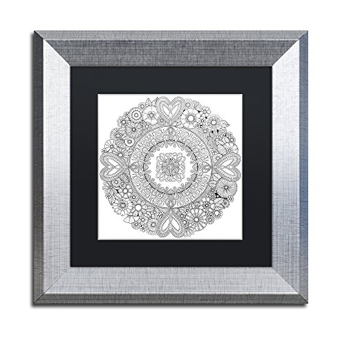 picture of Trademark Fine Art Flowers for my Heart by Hello Angel, Black Matte, Silver Frame, 11x11""