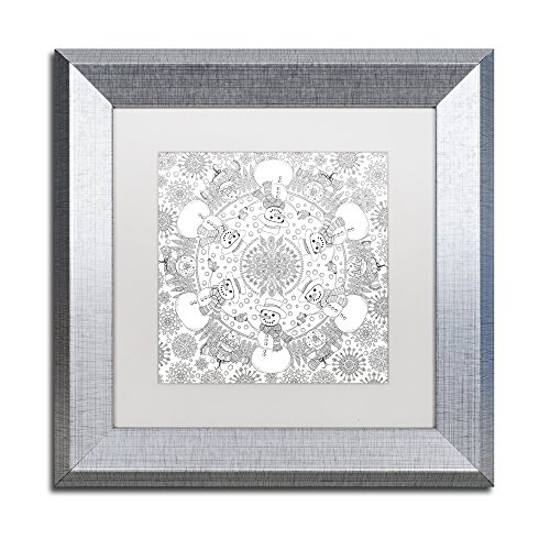 picture of Trademark Fine Art Frosty the Snowman Mandala by Hello Angel White Matte Silver Frame Artwork, 11 x 11""