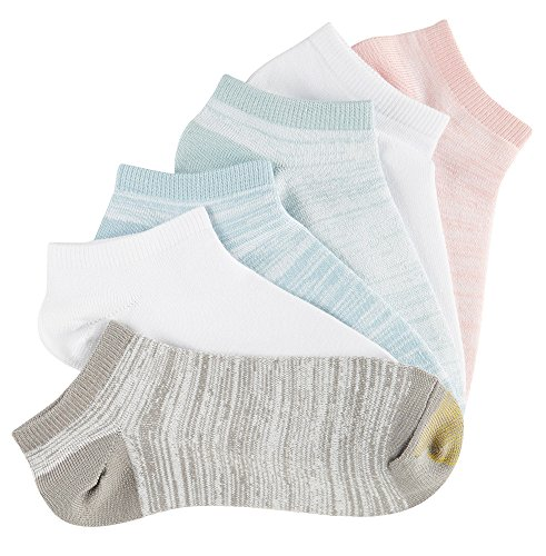 picture of Gold Toe Women's Free Feed Soft Low Cut Socks (6 Pair Pack), Aqua, White, Blush, White, White/Grey, Light Blue, Shoe Size: 6-9