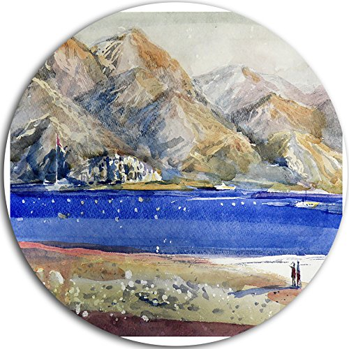 "picture of Designart ""Mountains and Blue Sea Landscape Round"" Metal Wall Art, 11 x 11"", Blue/Gray"