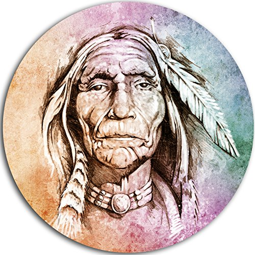 "picture of Designart ""American Indian Head Portrait Circle"" Wall Art, 11 x 11"", Purple/Brown"