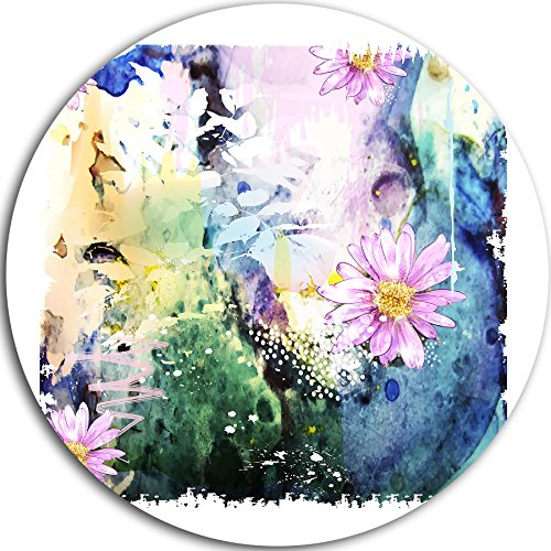"picture of Designart ""Abstract Blue Pink Floral Art Floral"" Metal Artwork, 23 x 23"", Blue/Pink"
