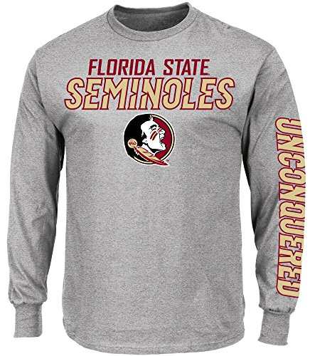 picture of NCAA Florida State Seminoles Men's Plan of Attack Long Sleeve T-Shirt, Large, Steel Heather