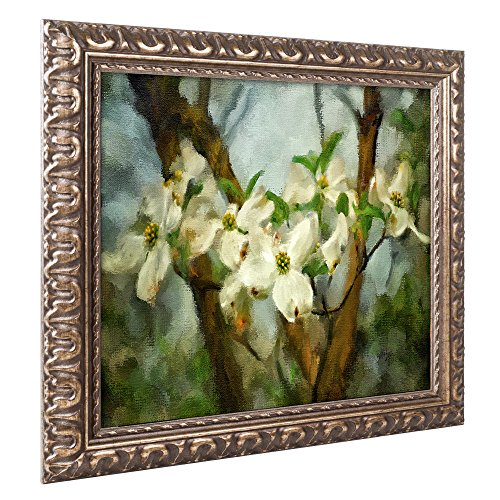 "picture of Trademark Fine Art LBR0315-G1620F Painted Dogwood by Lois Bryan, Gold Ornate Frame 16x20"" ,,"