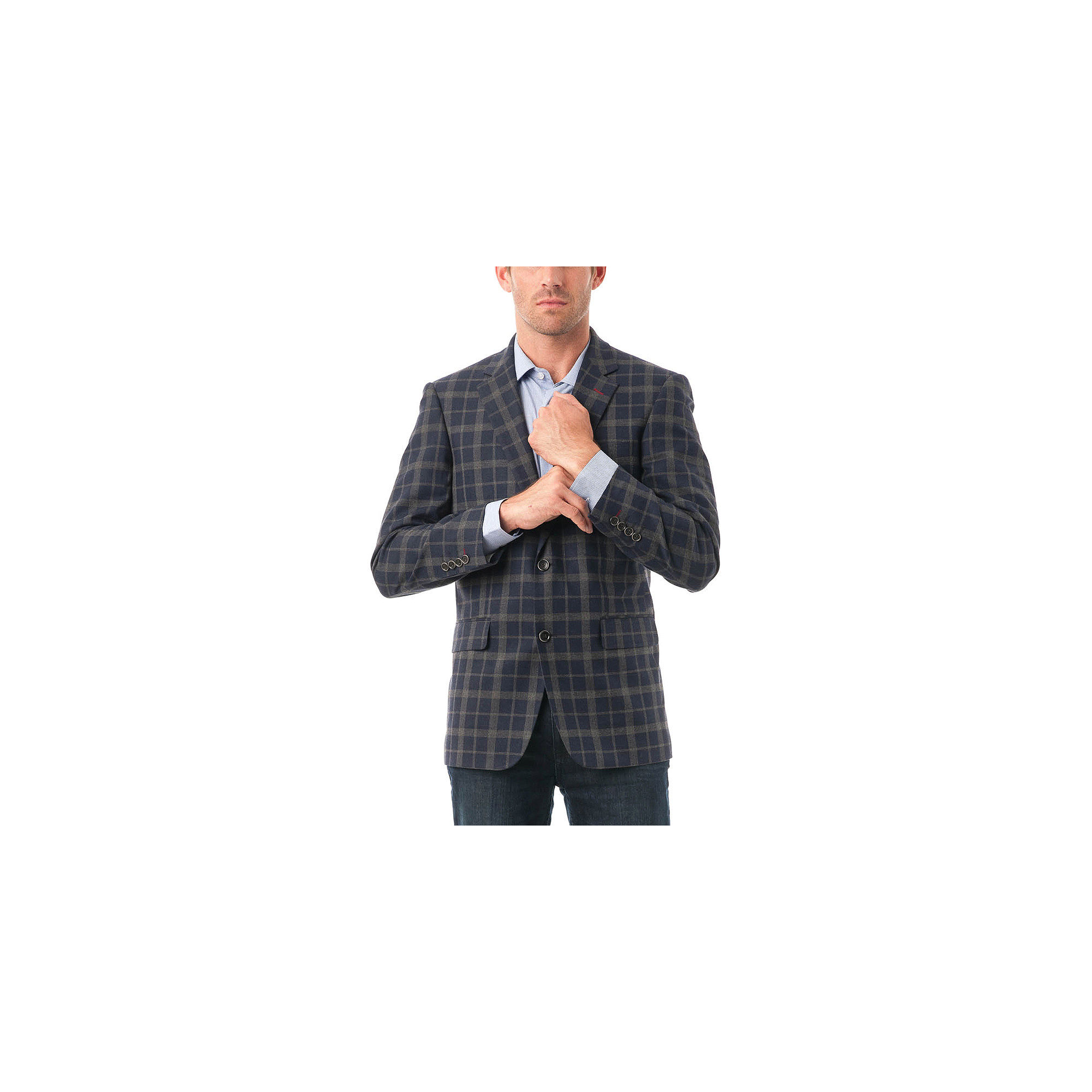 picture of Men's Navy and Grey Plaid Classic-Fit Blazer